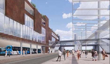 Kauppakeskus Sellon suunniteltu laajennusosa kurkottaa Leppävaaran bussiterminaalin yli. Uusi katettu asemasilta ylittää rantaradan.