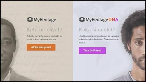 Ruutukaappaus Myheritage-sivustolta.