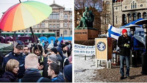 Maahanmuuttoviraston ylijohtaja Jaana Vuorio (vasen kuva) vieraili turvapaikanhakijoiden mielenosoituksessa Helsingin Rautatientorilla helmikuussa. Niko Tapionkaski (oikea kuva) osallistui Suomi ensin -mielenilmaukseen torin toisella laidalla.
