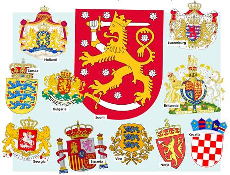 Suomen lisäksi leijonamaihin lukeutuvat muun muassa Tanska, Norja, Viro ja Espanja. Niiden vaakunassa esiintyy leijona, mutta ei kotkaa.