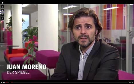 Der Spiegel julkaisi torstaina Juan Morenon videohaastattelun, jossa hän kertoo, kuinka hänen epäilyksensä heräsivät. Ruutukaappaus videolta.
