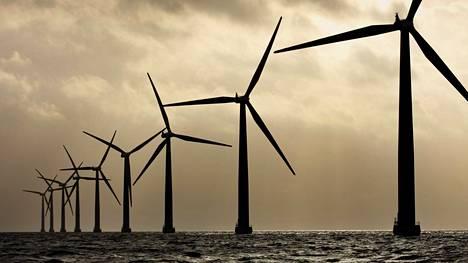 Tuulivoimaloita Samsøn saaren lähellä vuonna 2009. Euroopan ensimmäiset merituulivoimalat rakennettiin Tanskaan vuonna 1991.