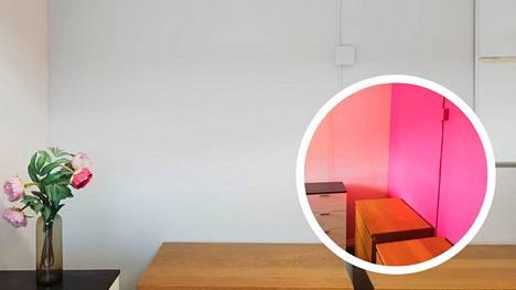 Huoneessa aikaisemmin työskennellyt henkilö kaipasi ympärilleen väriä, mutta seuraava työntekijä halusi rauhallisemman tunnelman. Pinkki tehosteseinä maalattiin Inline Sensitive 7 -maalin sävyllä Grey Stone.