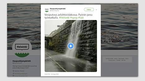 Helsingin Kaupunki julkaisi Twitter-tilillään videon vesiputouksesta Baanalla.
