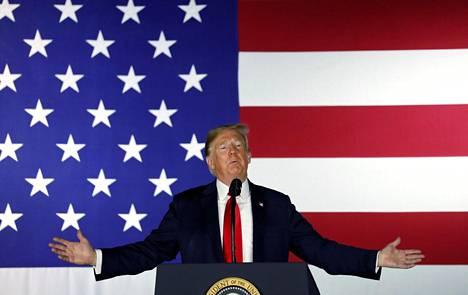 Yhdysvaltain presidentti Donald Trump puhui perjantaina Fargossa Pohjois-Dakotassa.