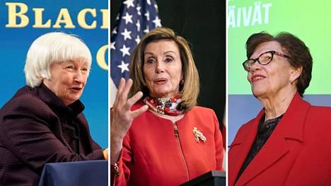 Janet Yellen, 74, aloitti hiljattain Yhdysvaltain valtiovarainministerinä. Nancy Pelosi, 80, on Yhdysvaltain edustajainhuoneen puhemies. Ministeri Sirkka-Liisa Anttila, 77, luopui eduskunnasta toissa vuonna.