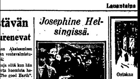 Helsingin Sanomat oli vastassa Rautatieasemalla, kun Joséphine Baker saapui Turusta Helsinkiin 8. joulukuuta 1933.