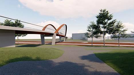 Havainnekuva uudesta sillasta Hyvinkäällä.