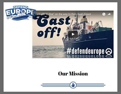 Kuvakaappaus Defend Europe -projektin nettisivuilta, joilla esitellään Libyan rannikolle suunnattua merioperaatiota ja kerätään rahaa toiminnan kustannuksiin.