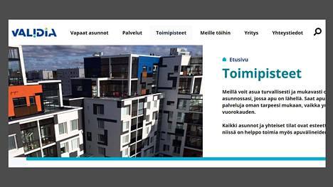 Ruutukaappaus Validia Asumisen verkkosivusta. Validia Asuminen on Suomen suurin vaikeavasmmaisten asumispalvelujen tuottaja.