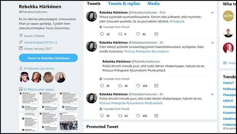 Turun Sanomien toimittaja Rebekka Härkönen ruotii Twitterissä meneillään olevaa tilannetta. Kuvakaappaus.