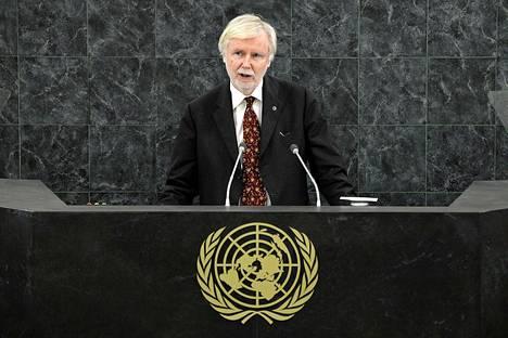 Ulkoministeri Erkki Tuomioja puhui perjantaina YK:ssa.