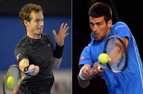 Andy Murray (vas.) ja Novak Djokovic kohtaavat finaalissa.