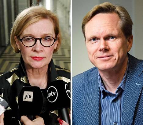 Eduskunnan puhemies Paula Risikko (kok) ja Helsingin yliopiston valtiosääntöoikeuden professori Tuomas Ojanen.
