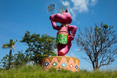 The pink hippopotamus greets visitors on Escobar's former farms.  Today, Hacienda Nápoles is a tourist destination.