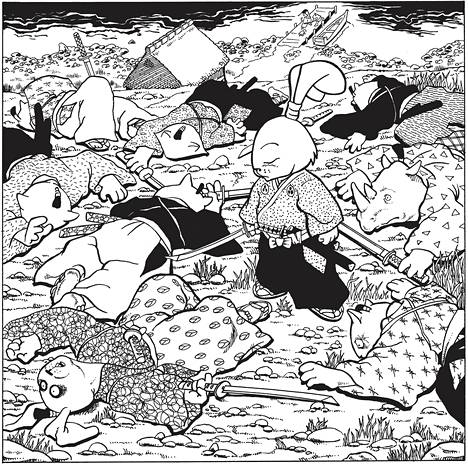 Usagi Yojimbo -sarjakuvien eläinhahmot toimivat lähinnä luonnekuvina ja käytännössä kerrotaan ihmisistä. Pikkulapsille sarjan runsaasti uhreja vaativat miekkataistelut eivät sovi.