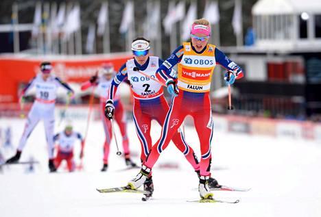 Heidi Weng (2) ja Therese Johaug kilpailivat viime kaudella Falunissa.