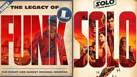Kuin kaksi marjaa? Vasemmalla vuonna 2015 julkaistun kokoelmalevyn kansi ja oikealla uuden Solo: A Star Wars Story -elokuvan juliste.