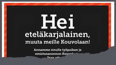 Mainos Etelä-Saimaan etusivulla oli tiistaina 23. kesäkuuta.