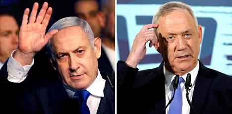 Israelin politiikan kilpakumppanit: Benjamin Netanjahu (vas.) ja Benny Gantz.
