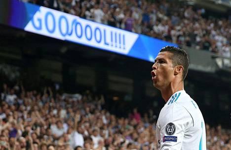 Cristiano Ronaldo juhli Real Madridin avausmaalia Mestarien liigan ottelussa Apoelia vastaan viime viikolla.