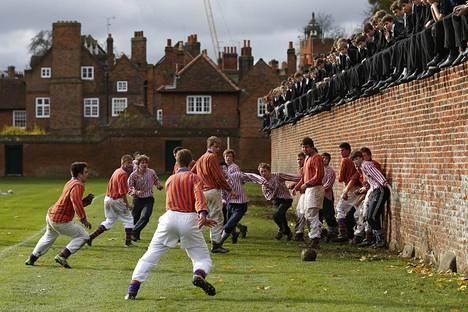 Opiskelijat pelasivat marraskuussa 2012 seinäpeliä (Eton Wall Game) Etonin yliopiston kampuksella. Etonin lukukausimaksut ovat Britannian kalleimpia.+