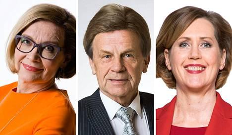 Paula Risikko, Mauri Pekkarinen ja Tuula Haatainen.
