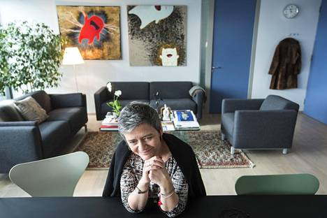Vestager's spacious office is in the 10th floor of Berlaymont, the headquarters of the European Comission.