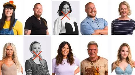 Big Brother talon asukkaat vasemmalta ylhäältä lukien: Kati, Arttu, Sini, Joel, Paula, Roope, Olli-Pekka, Sami, Ella, Minna, Sasa, Timo, Kristiina, Niko, Tiia ja Marko.