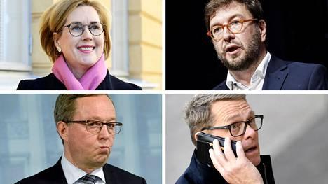 Työministeri Tuula Haatainen (sd), liikenne- ja viestintäministeri Timo Harakka (sd), elinkeinoministeri Mika Lintilä (kesk) ja valtiovarainministeri Matti Vanhanen (kesk).