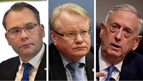 Suomen, Ruotsin ja Yhdysvaltain puolustusministerit: Jussi Niinistö (vas.), Peter Hultqvist ja James Mattis.