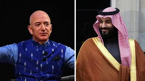 Washington Post -lehden omistaja, Amazonin perustaja Jeff Bezos ja Saudi-Arabian kruununprinssi Mohammad bin Salman.