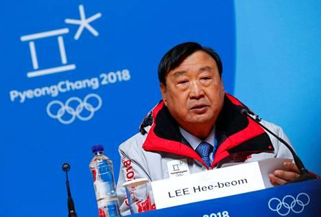 Lee hee-beom kertoi tiistaina olympialaisten järjestelyistä.