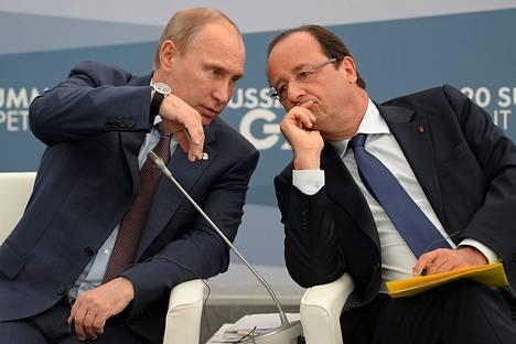 Vladimir Putin ja Francois Hollande tapasivat Pietarissa syyskuussa 2013.