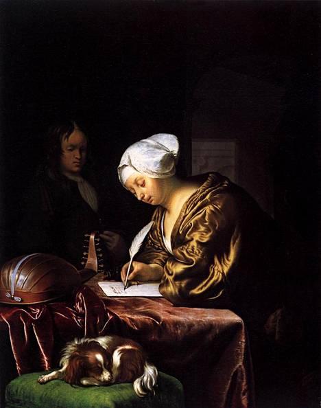 Frans van Mieris vanhempi maalasi teoksen Kirjettä kirjoittava nainen vuonna 1680.