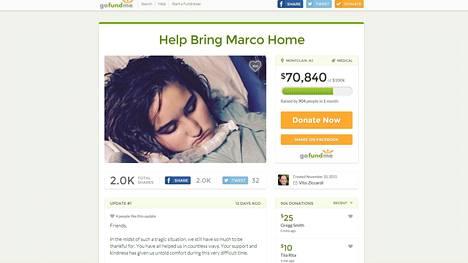 Kuvakaappaus Go Fund Me -verkkopalvelusta, jossa vakavasti sairaan Marco Ziccardin perhe kerää rahaa poikansa kalliiseen paluulentoon.