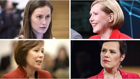 Sanna Marin (vas. ylh.), Tuula Haatainen, Sirpa Paatero ja Maarit Feldt-Ranta ovat vielä mahdollisia Sdp:n presidenttiehdokkaita.