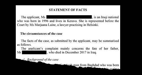 Suomessa asuva aikuinen tytär valitti Euroopan ihmisoikeustuomioistuimelle, kun hänen isänsä palautettiin Irakiin ja tapettiin pian sen jälkeen.