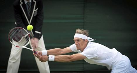 Jarkko Nieminen Wimbledonin tennisturnauksessa kesäkuussa.