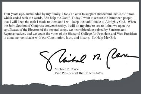 """Mike Pence kertoi, että kongressin tulee seurata """"perustuslakia, lakeja ja historiaa"""", kun se vahvistaa presidentinvaalien tuloksen."""