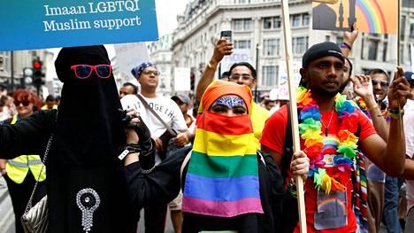 Viime heinäkuussa järjestettyyn Lontoon Pride-marssiin osallistui myös muslimeja.