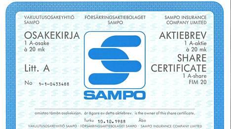 Yhden Sammon vanhan paperiosakkeen arvon on noin 850 euroa.
