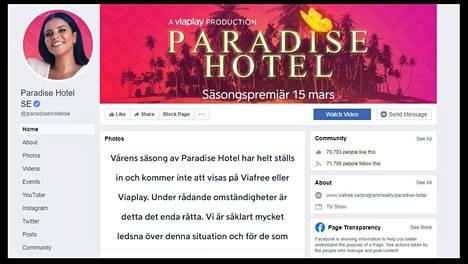 Ruutukaappaus Paradise Hotel Sverigen Facebook-sivulta. Sarjaa esittävä tv-yhtiö Nent on päättänyt olla näyttämättä loppukauden jaksoja häirintäsyytösten vuoksi.