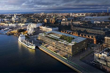 Stora Enson uusi pääkonttori ja uusi hotelli sijoittuvat Katajanokanlaituriin purettavan varastorakennuksen paikalle. Kuvassa kilpailuehdotus nimeltä Beacon.