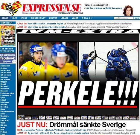 Kuvakaappaus Expressenin nettilehden etusivulta.