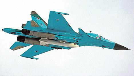 Venäläinen Sukhoi SU-34-hävittäjä.