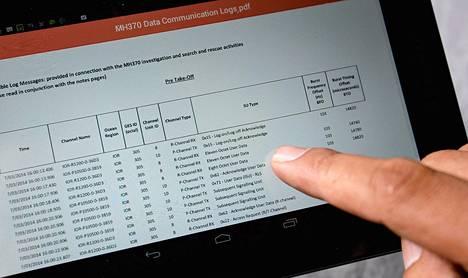 Kadonneen lennon MH370 datatiedot on nyt julkaistu.