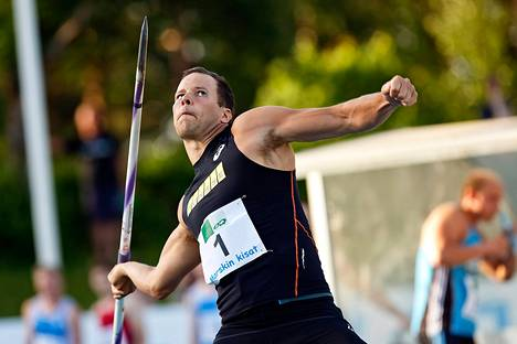 Tero Pitkämäki heitti keihästä yleisurheilun Marskin kisoissa Lappeenrannassa keskiviikkona.