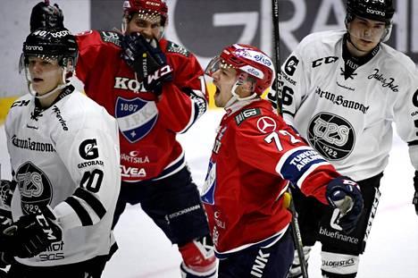 HIFK:n Patrik Carlsson pääsi tuulettamaan voittomaalia.