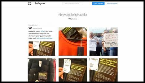 Eettisen vaateteollisuuden verkosto Clean Clothes Campaign kehoittaa ihmisiä julkaisemaan kuvia sosiaalisessa mediassa aihetunnisteella #JusticeForBravoWorkers tai turkiksi #BravoİşçileriİçinAdalet. Ruutukauppaus Instagramista.